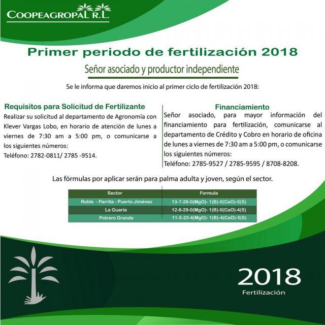 Ferttilizacion 2018 coopeagropal